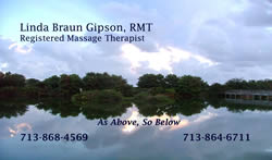Linda Gipson Massage Therapist, Houston Texas,  Business Card