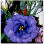 Purple lisianthus photo drawing on a tile