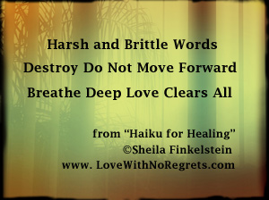 harsh words Haiku on photo image
