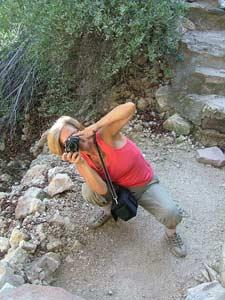 Lindy Erwell photographs Sheila Finkelstein in Boyce Arboretum