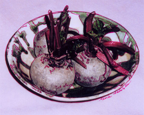 photo drawing of beets in a dish