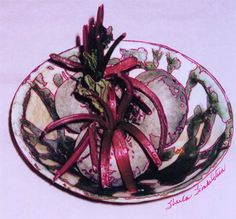 beets in a ceramic dish - photo drawing