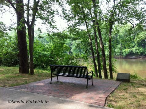 bench on  Ocmulgee Riverwalk in Macon, GA