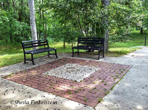 2 benches along Ocmulgee Riverwalk in Macon, GA