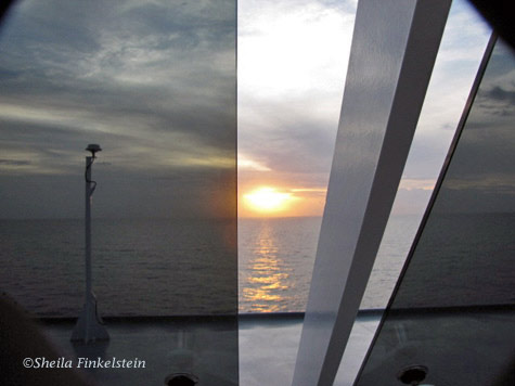 sunrise in the Caribbean Sea on board an MSC Cruise ship