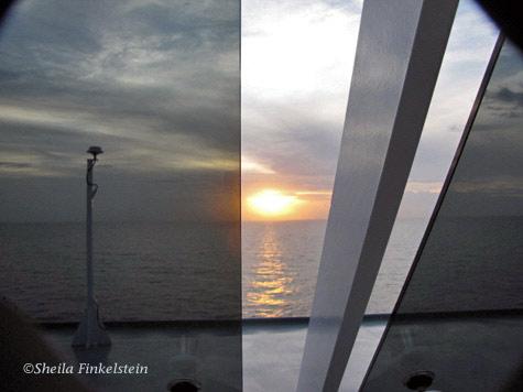 sunrise in the Caribbean Sea on board an MSC Cruise ship