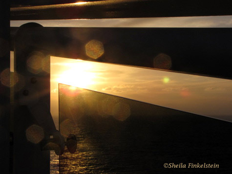 sunrise from the deck on board MSC Cruise ship in the Caribbean