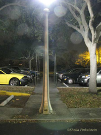 lamppost in parking lot at night