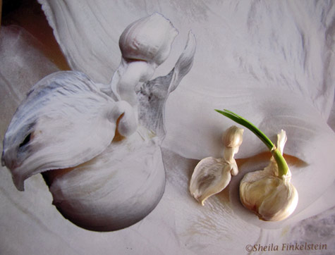 garlic segments on abstract calendar