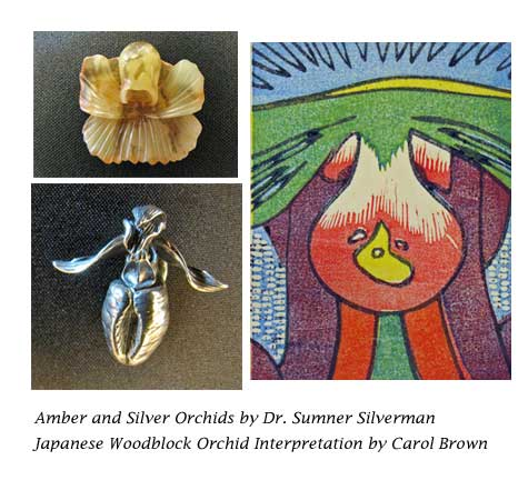 Orchids in jewelry and Japanese Woodblock pring