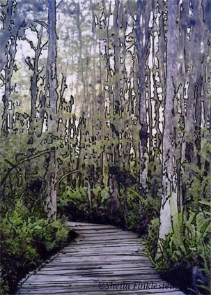 Cypress Swamp boardwalk in Loxahatchee Wetlands