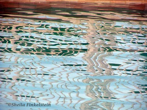 reflections in pool water - all over ripples