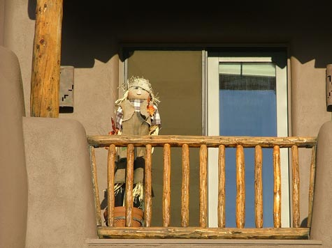 Scarecrow on balcony in Sedona, AZ