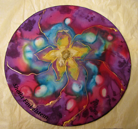 Silk Painting - Mandala 1 by Sheila Finkelstein