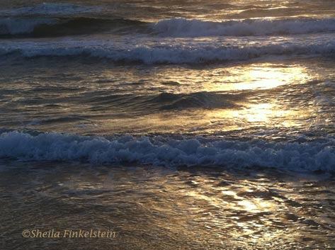 waves along the rolling sunlit, golden surf at Boynton Beach, FL